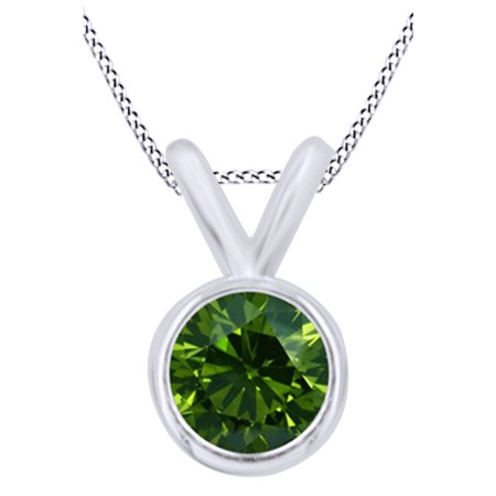 Green Natural Diamond Bezel Set Solitaire Pendant Necklace in 14K Solid White Gold (0.5 Ct)
