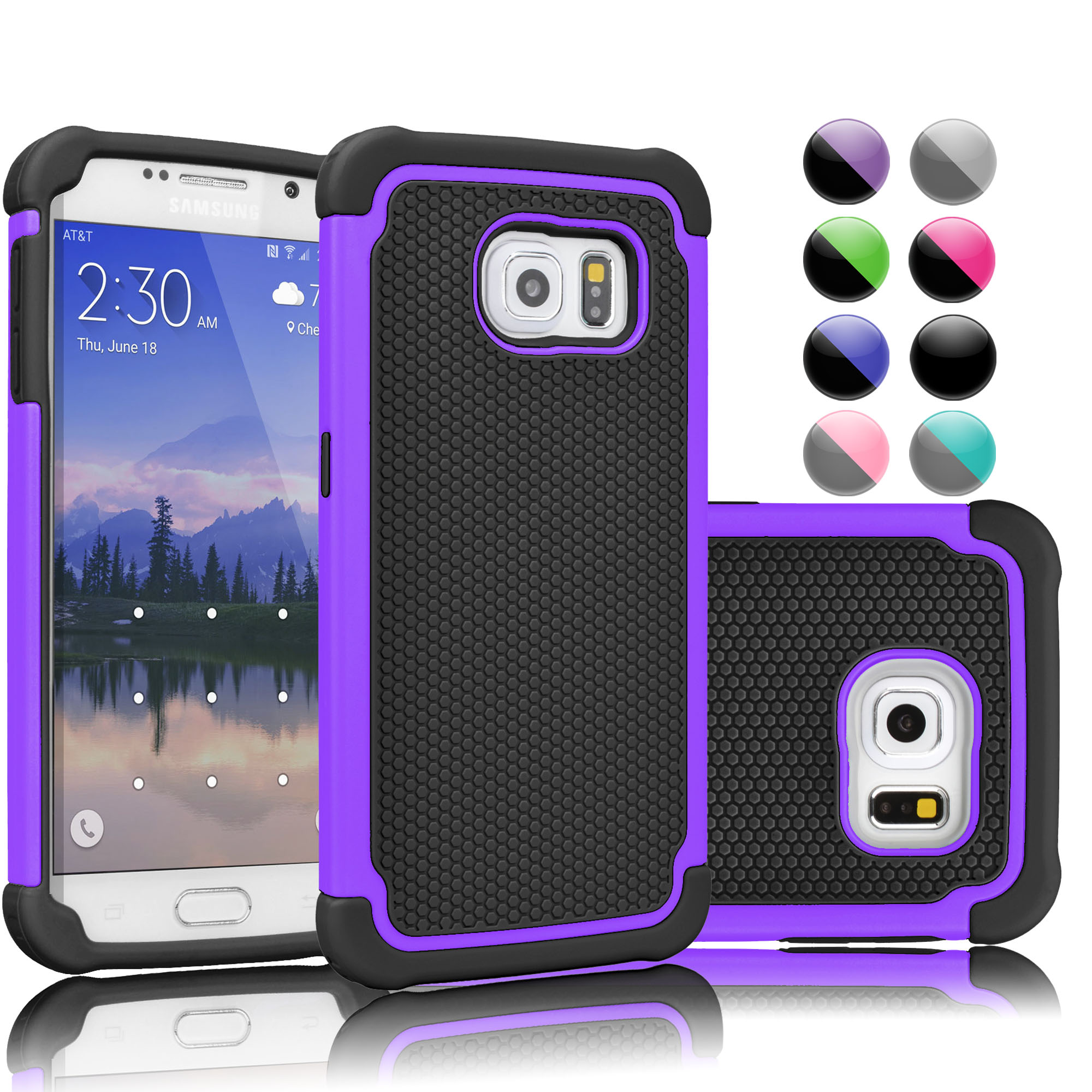 Galaxy S6 Edge Plus Case, S6 Edge Plus Cute Case, Njjex Shockproof Protection Rugged Rubber Double Layer Plastic Hard Case Cover For Samsung Galaxy S6 Edge Plus -Purple