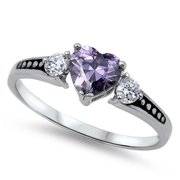 CHOOSE YOUR COLOR Women's Simulated Amethyst Beautiful Ring New .925 Sterling Silver Band