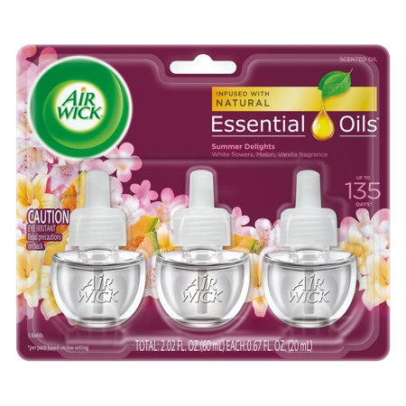 Three Wick Glass - Air Wick Scented Oil 3 Refills, Summer Delights, (3X0.67oz), Air Freshener