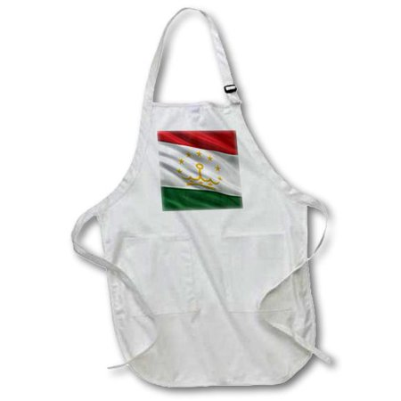 3dRose Flag of Tajikistan waving in the wind, Medium Length Apron, 22 by 24-inch, With Pouch Pockets