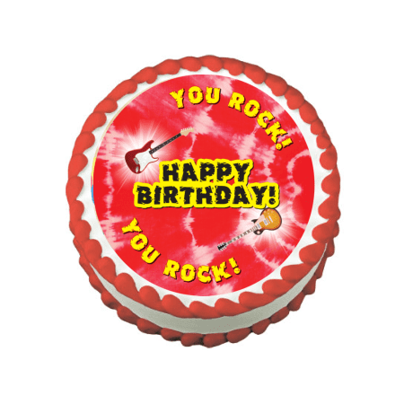 Rock Star Guitar You Rock Edible Frosting Sheet Photo Image Cake Topper - Red ()