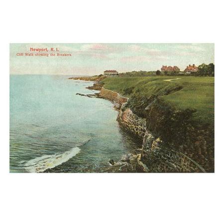 Cliff Walk, Breakers, Newport, Rhode Island Print Wall (Best Part Of Cliff Walk Newport)