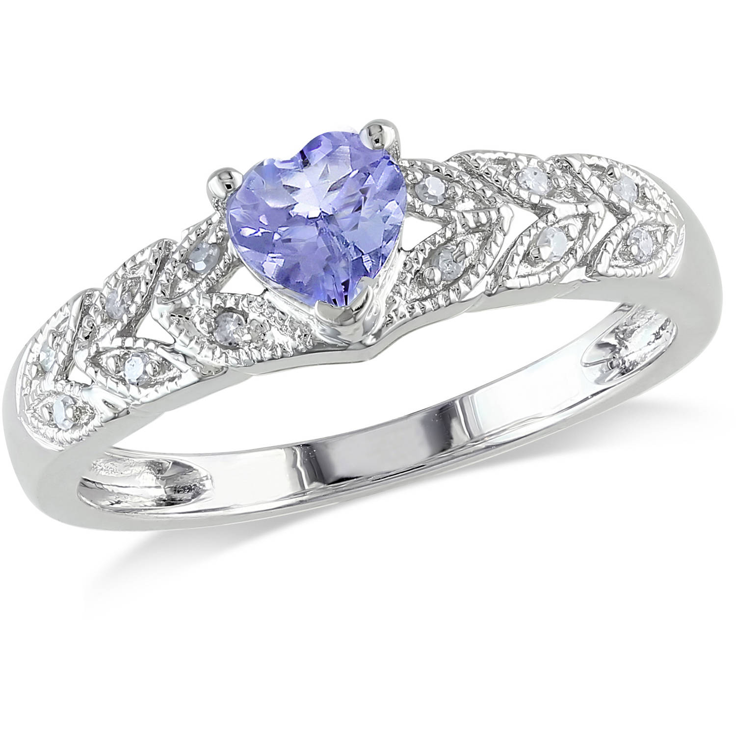 3 8 Carat T.G.W. Tanzanite and Diamond-Accent 10kt White Gold Heart Ring by Delmar Manufacturing LLC