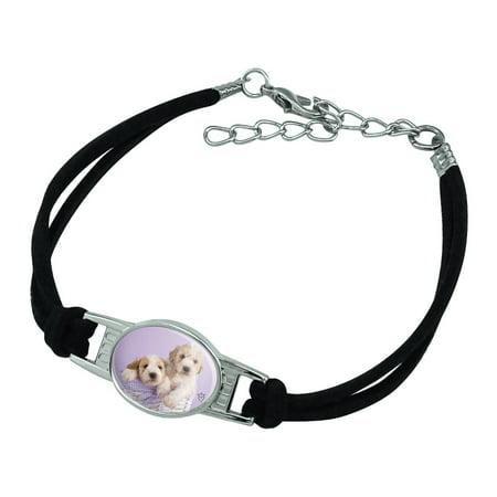 Spoodle Cockapoo Puppies Dogs Wicker Basket Novelty Suede Leather Metal Bracelet ()
