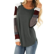 Women Striped Long Sleeve Tunic Tshirt