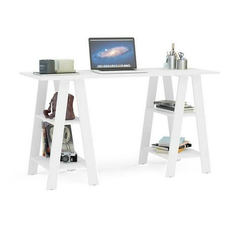 Boahaus Modern Computer Desk, White, 2 Bookcases