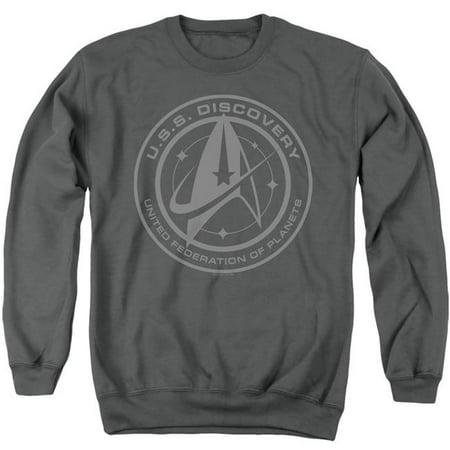 Trevco Sportswear CBS2564-AS-6 Star Trek Discovery & Discovery Crest-Adult Crewneck Sweatshirt, Charcoal - 3X - image 1 de 1