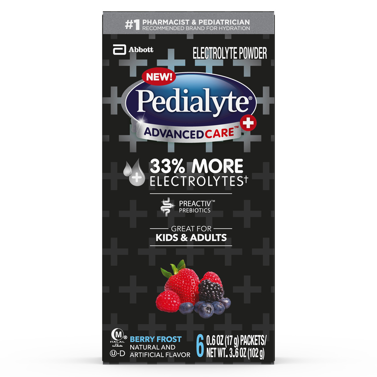 Pedialyte AdvancedCare Plus Electrolyte Powder Berry Frost 0.6 oz Powder Packs (Pack of 36)