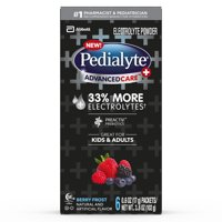Pedialyte AdvancedCare Plus Electrolyte Powder, with 33% More Electrolytes and PreActiv Prebiotics, Berry Frost, Electrolyte Drink Powder Packets, 0.6 oz (6 Count)