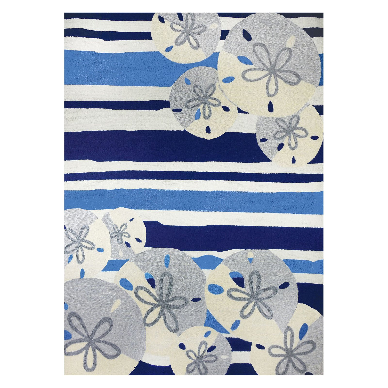 Homefires Sand Dollars On Stripes Indoor/Outdoor Area Rug
