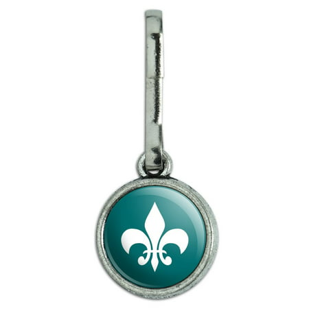 Fleur de Lis Teal Antiqued Charm Clothes Purse Backpack Zipper Pull