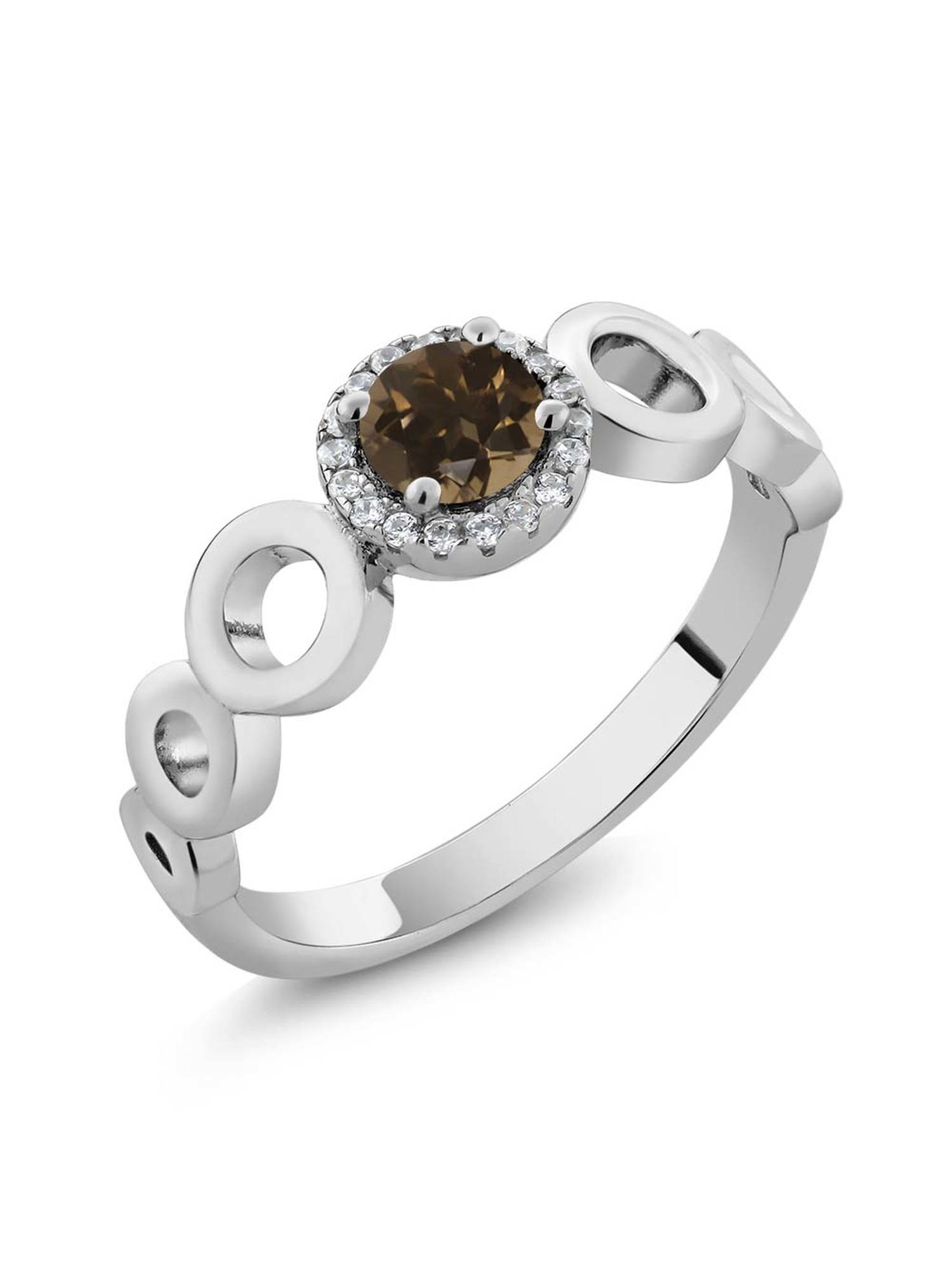 0.68 Ct Round Brown Smoky Quartz 925 Sterling Silver Ring