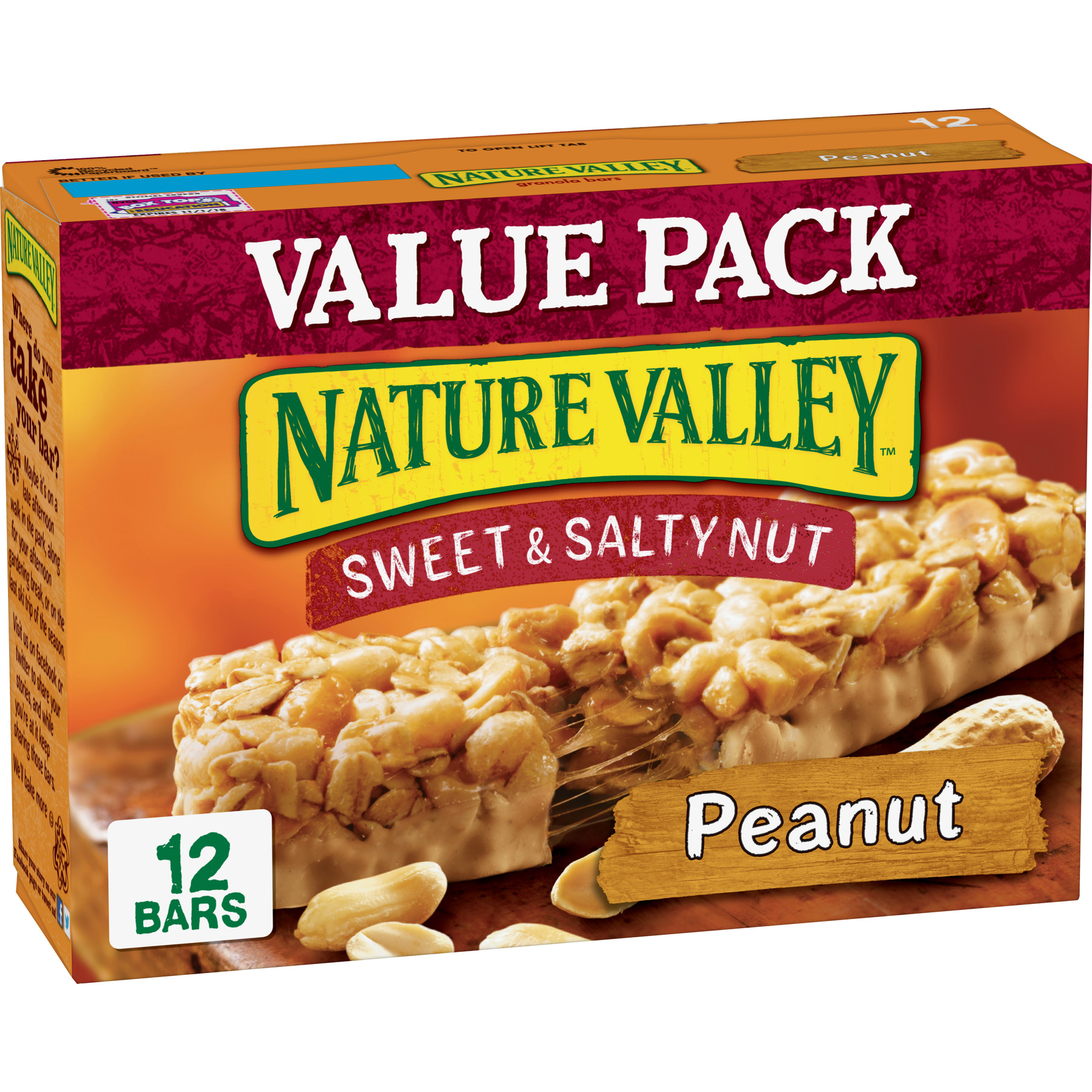 Nature Valley Granola Bars, Sweet and Salty Nut, Peanut, 12 Bars - 1.2 oz