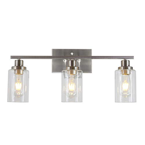 Melucee 3 Lights Wall Sconce Brushed Nickel Finished Modern Bathroom Vanity Light Fixtures With Clear Glass Shade Suit For Porch Bedroom Foyer Kitchen Walmart Com Walmart Com