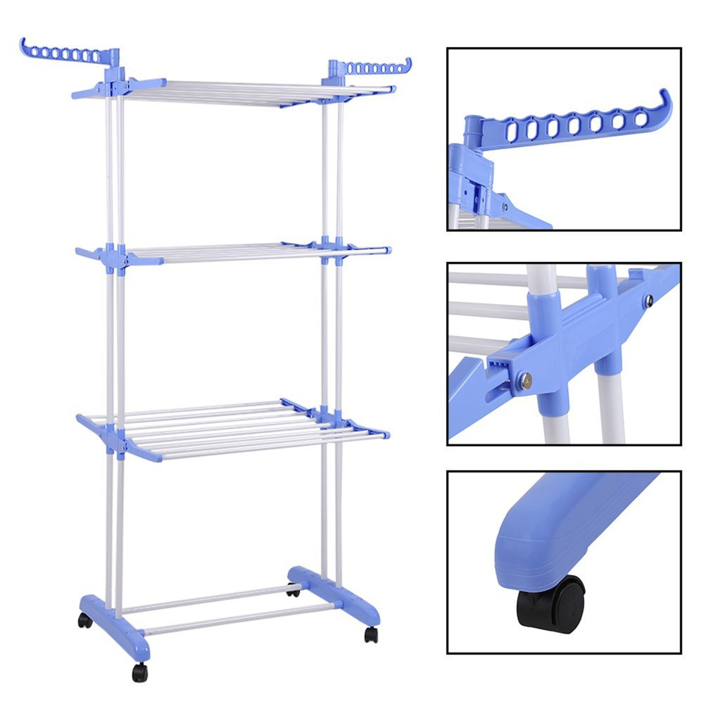 Portable Clothes Rail Multifunctional Storage Rack Folding Clothes Drying Rack