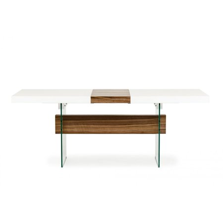 Vig Modrest Sven Contemporary White Walnut Floating Extendable Dining Table