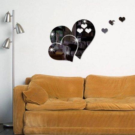 Clearance!  Love Hearts Mirror Wall Sticker Kids Bedroom Nursery Ceiling GOGBY