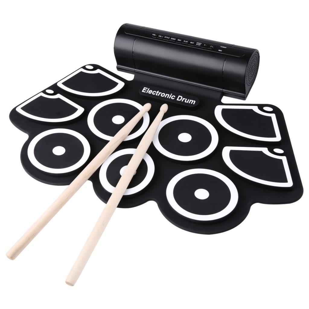 Lightahead Portable 9 Pads + 2 Pedals Electronic Roll Up Drum Kit with Built in Speakers, Drumsticks, and Power Supply