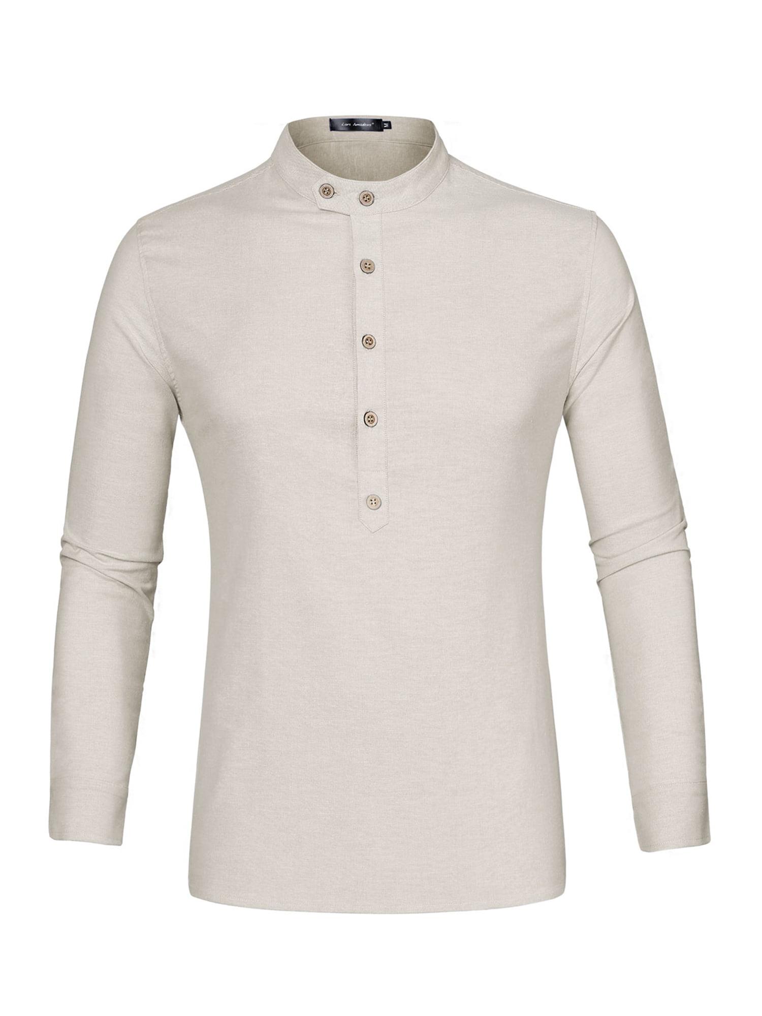 Details about  /True Blue Men Solid Mandarin Collar Long Sleeve Slim Fit Beige Shirt