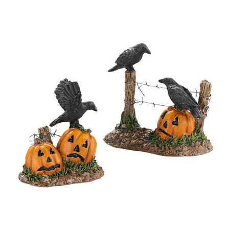 Two Halloween Headstones (Department 56 Halloween Village Halloween Ravens Set of)