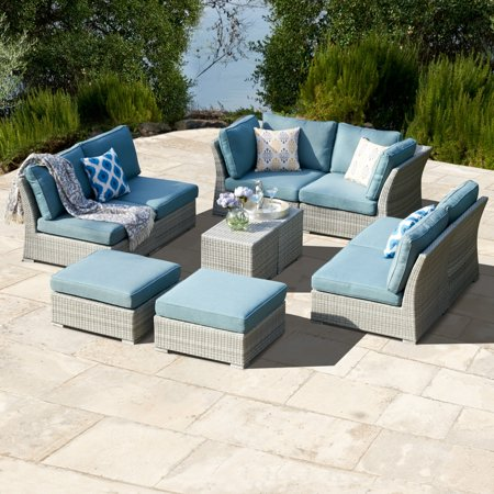 Corvus 10 Piece Grey Wicker Patio Furniture Set With Blue Cushions