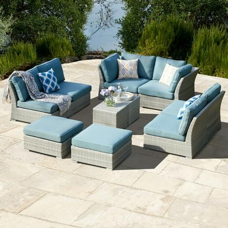 Corvus 10 Piece Grey Wicker Patio Furniture Set With Blue
