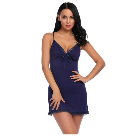 CLEARANCE! Women Sexy Lingerie Babydoll Chemise Lace-trimmed Nightwear with G-String CCGE