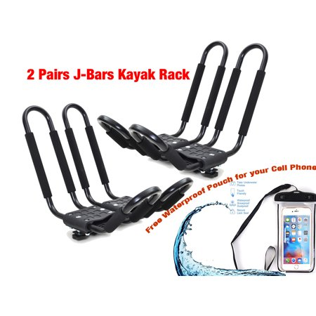 Smarten Universal 2 pairs J-Bar Kayak Roof Rack Carrier Canoe Boat Surf Ski Roof Top Mount Car SUV Crossbar+ Waterproof Cellphone Bag
