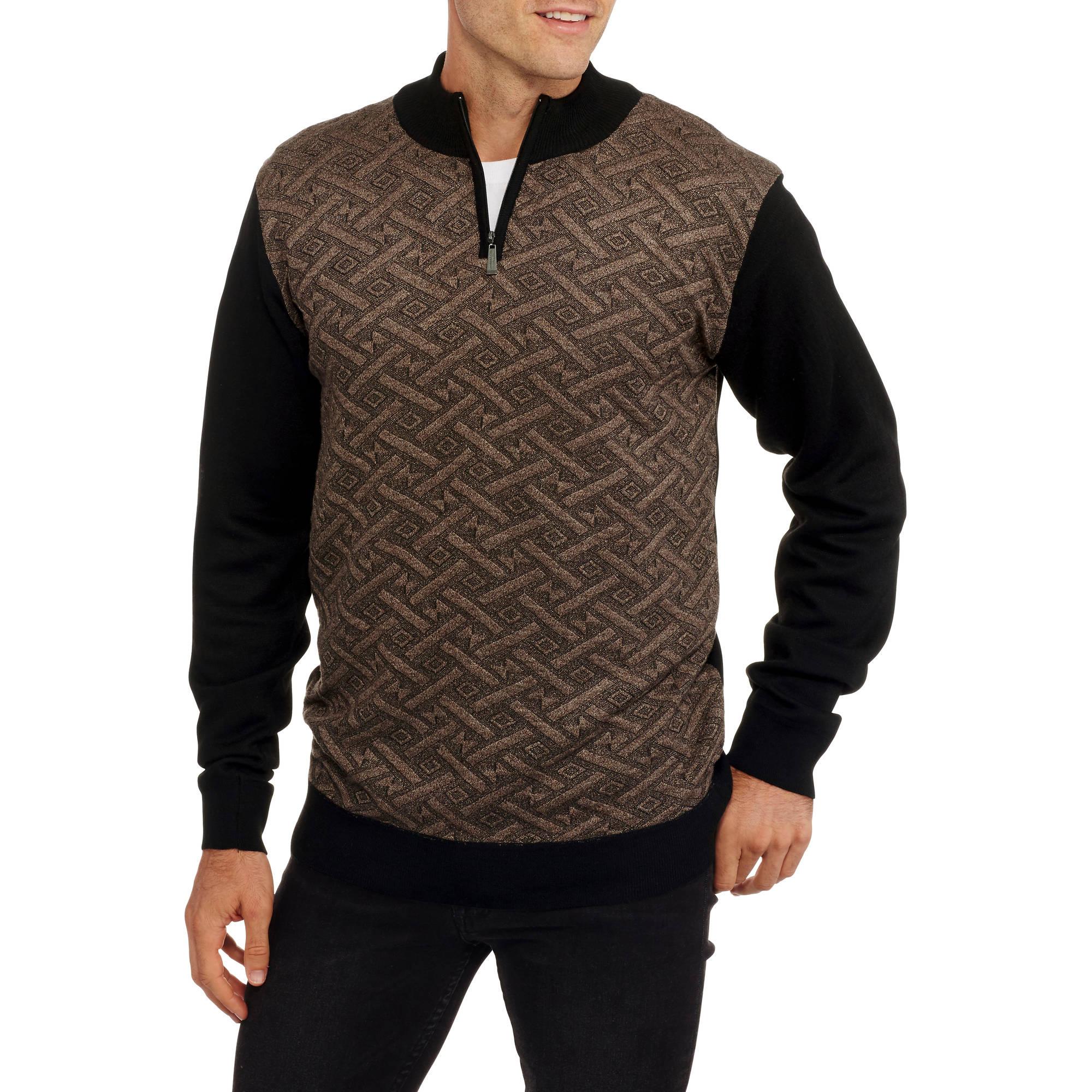 Sahara Club Men's Jacquard 1/4 Zip Mock Neck Sweater