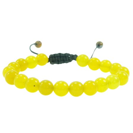 fashion Jewelry Men Women Semi precious 8mm Round Yellow Aventurine gemstone adjustable bracelet …