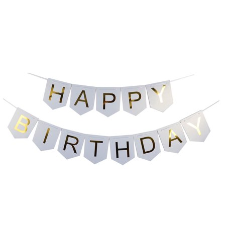 Happy Brithday Banner (Paper HAPPY BIRTHDAY Letters Ornament Photo Prop Bunting Banner White Gold)