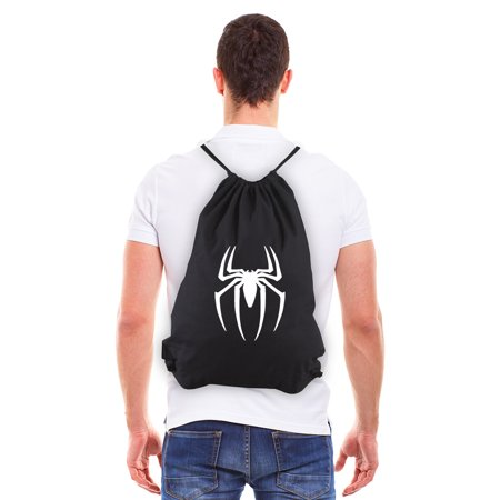 Spiderman Symbol Eco-Friendly Reusable Draw String Bag Black &