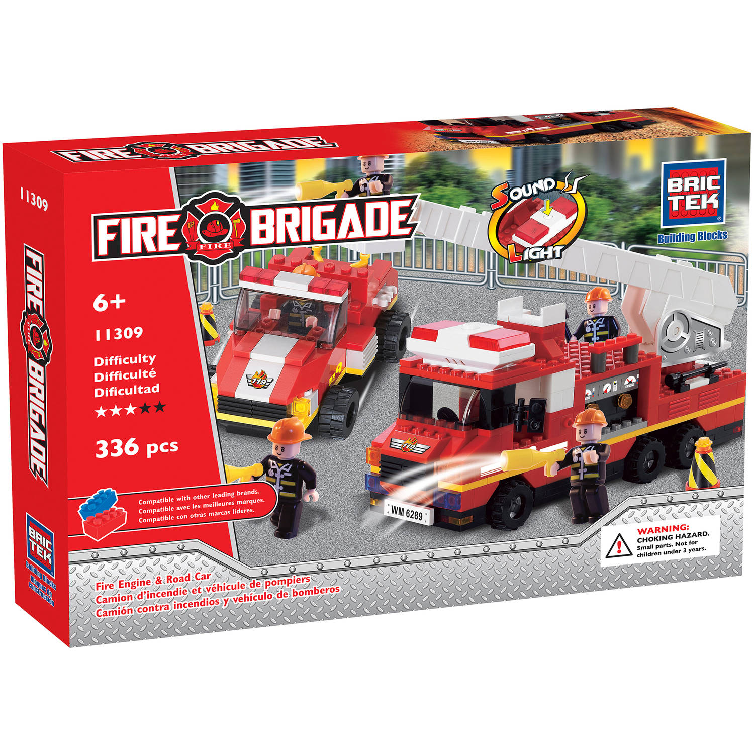 Brictek Fire Engine with Road Car