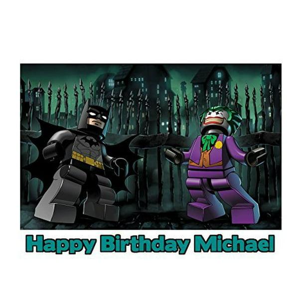 Marvelous Lego Batman The Joker Image Photo Cake Topper Sheet 1 4 Sheet Personalised Birthday Cards Cominlily Jamesorg