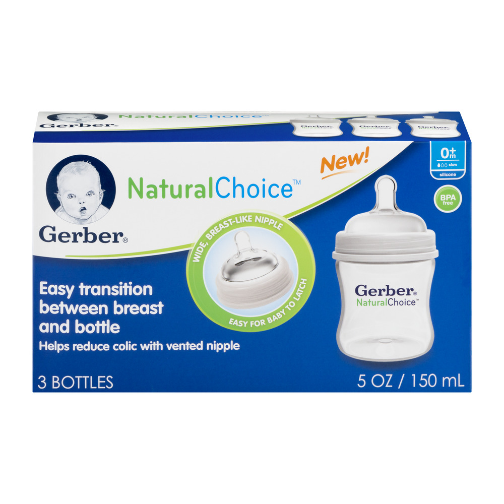 Gerber Natural Choice Bottles  5 OZ 0m+ - 3 CT