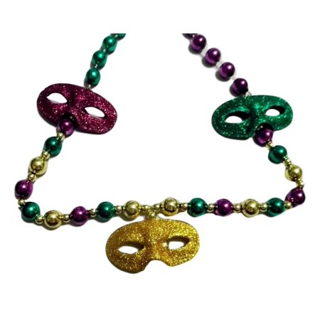 3 Glitter Masks Mardi Gras Beads Party Favor Necklace (Cheap Mardi Gras Beads In Bulk)