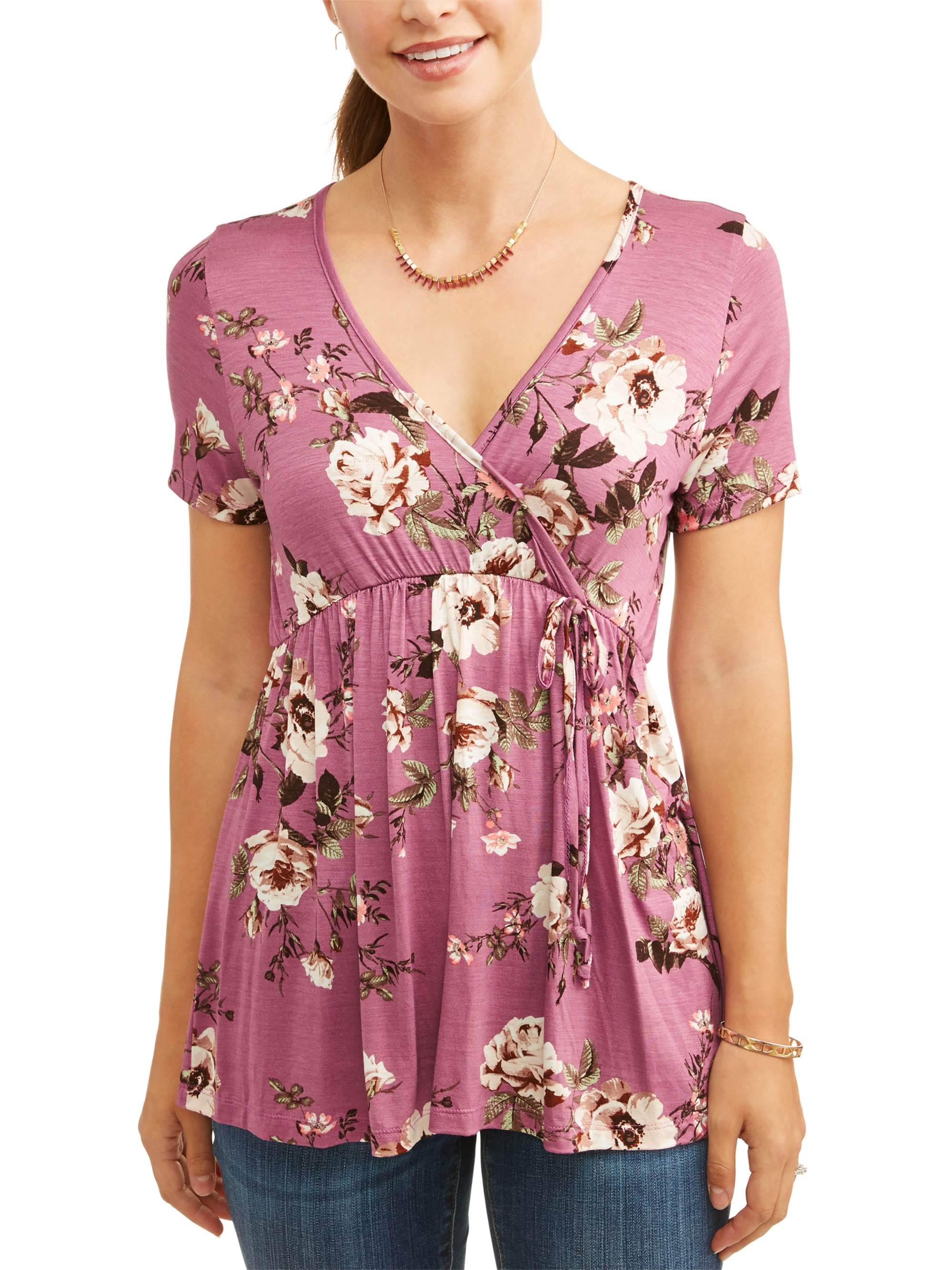 Maternity Baby Doll Floral Nursing Top