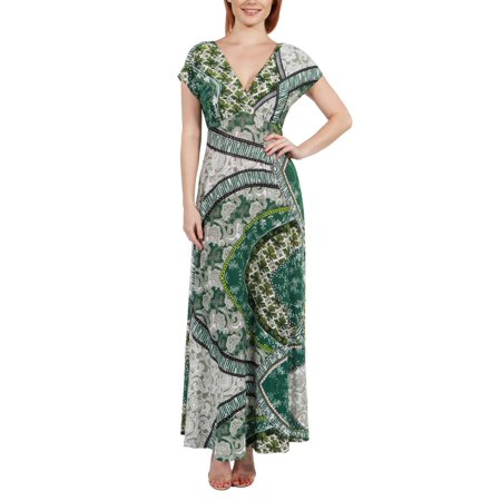 Women's Lena Short Sleeve Green Print Empire Waist Maxi Dress