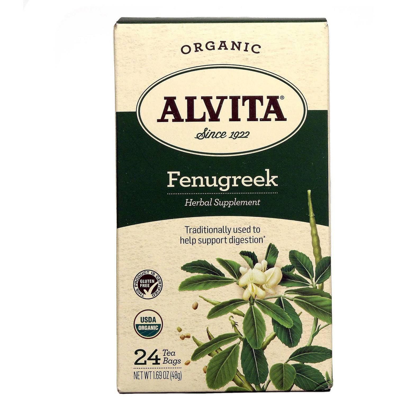 Alvita Organic Fenugreek Herbal Supplement Tea, 24 count, 1.69 oz, (Pack of 3)