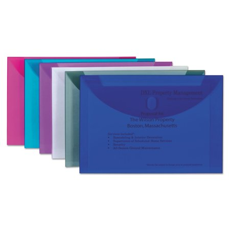 Reusable Poly Envelope, Hook and Loop Closure, 9 1/2 x 13, Assorted Button Closure Poly Letter Envelope