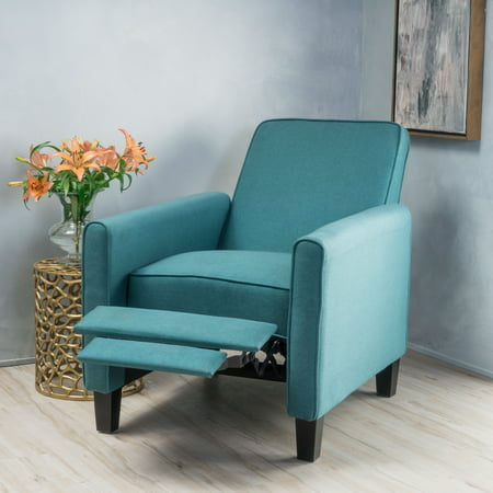 Noble House Arden Dark Teal Fabric Recliner Accent Chair