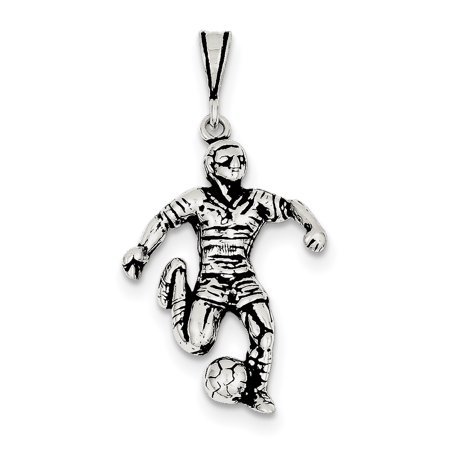 Sterling Silver Antiqued Soccer Player Charm QC7798 (31mm x 21mm) - image 2 de 2
