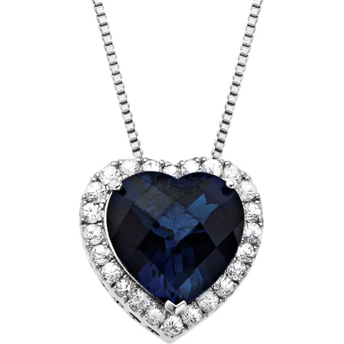 """Created Blue and White Sapphire Heart Pendant in Sterling Silver, 18"""""""