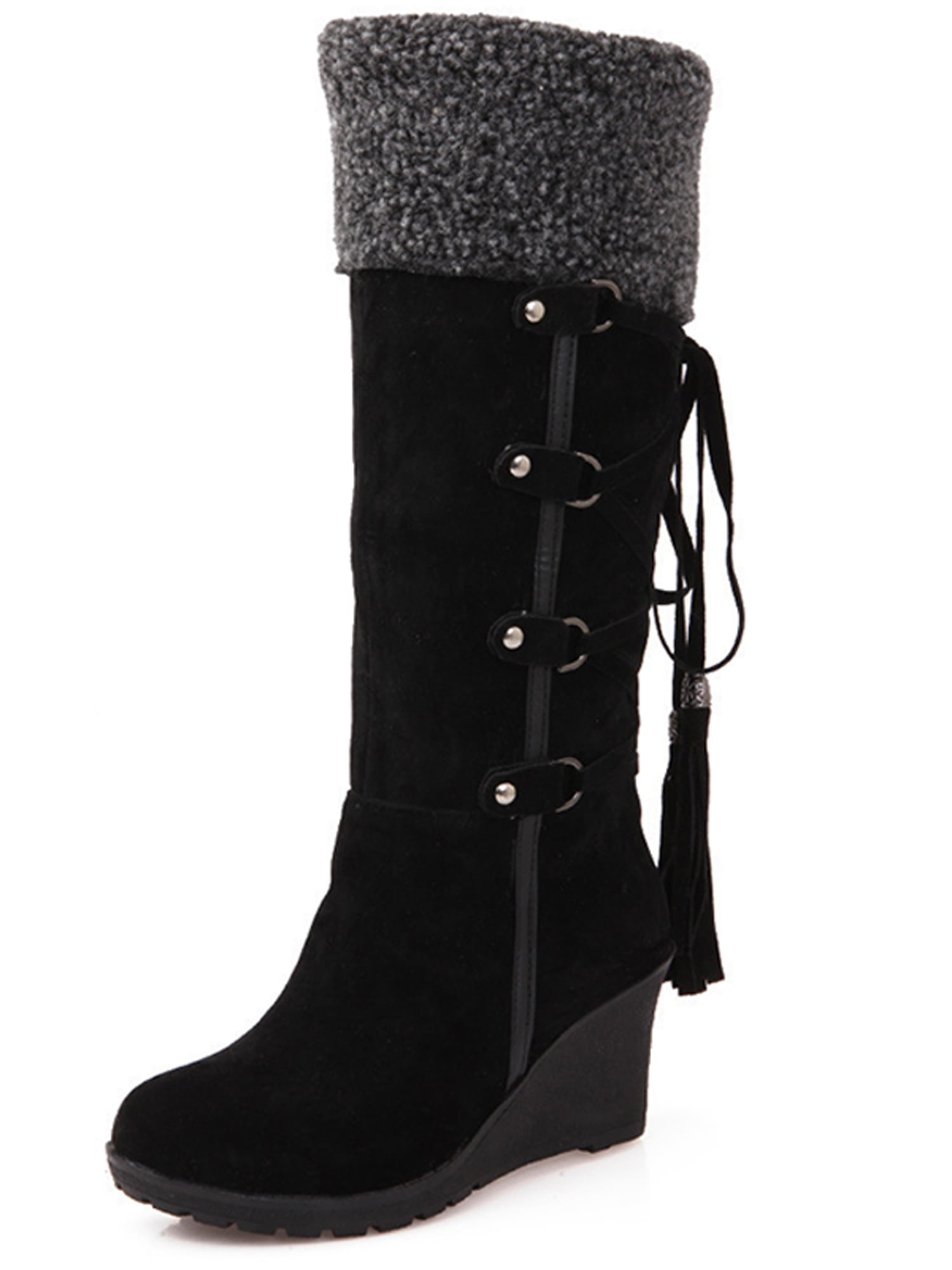 Snow Boots Lace Up Wedges Heel Shoes