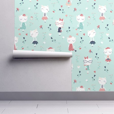Removable Water-Activated Wallpaper Cute French Cats Cats Cats Chic Girls (French Mint)