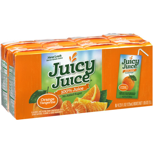 Juicy Juice Orange Tangerine 100% Juice, 4.23 fl oz, 8 count