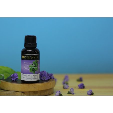 Soulflower Dreamcatcher Aromatherapy 100% Pure Essential Oil Blend with Lavender, Ylang Ylang & Basil. Organic and Vegan. 1 fl. oz + Free Glass Dropper