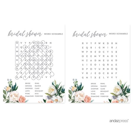 Peach Coral Floral Garden Party, Word Search Bridal Shower Game Cards, 20-Pack
