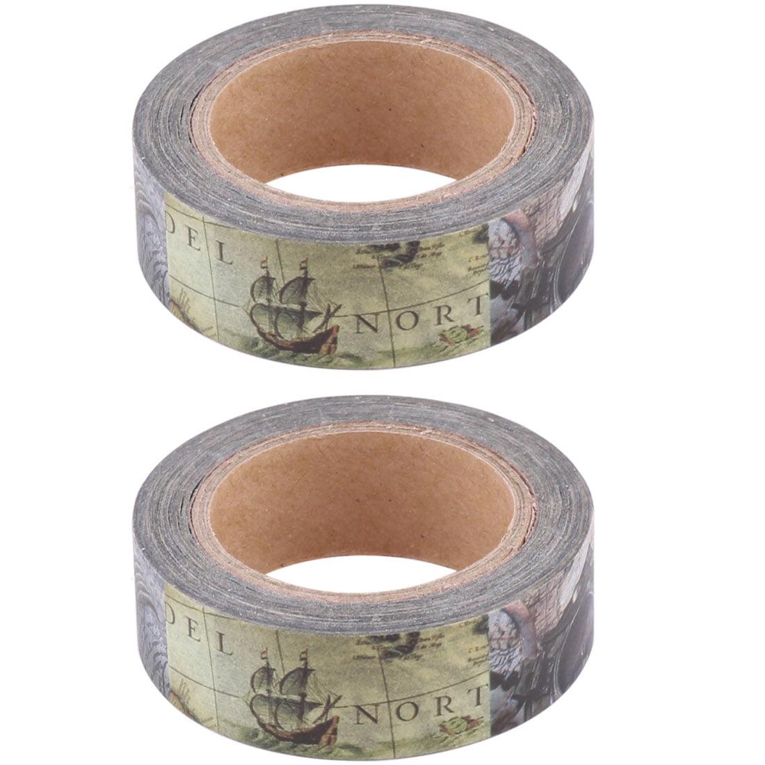 Washi Paper Compass Print Craft Book Box Decorative Tape Roll 10M Length 2pcs